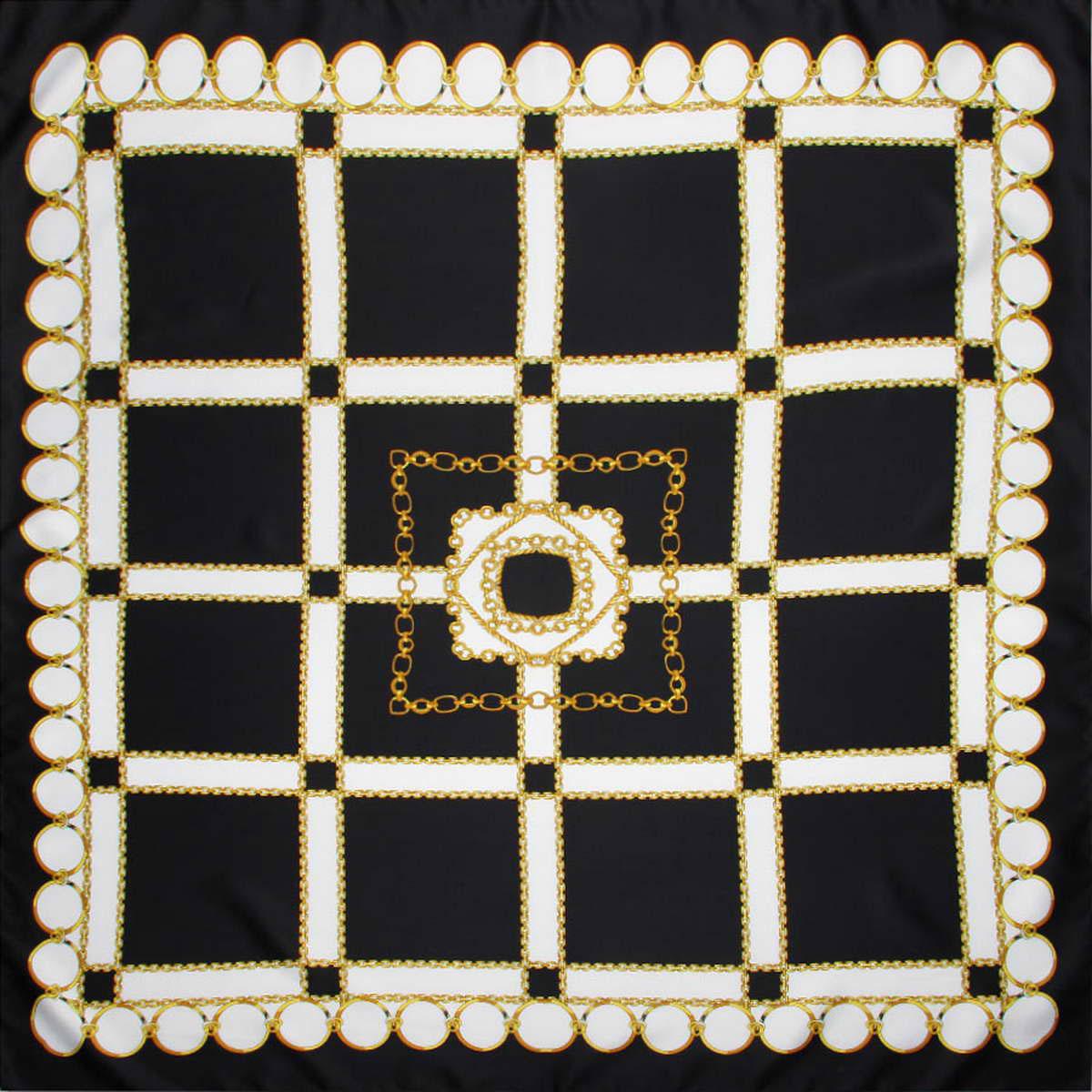 Платок женский Venera, цвет: черный, белый, желтый. 3914783-02. Размер 90 см х 90 см3914783-02Стильный женский платок Venera станет великолепным завершением любого наряда. Платок изготовлен из полиэстера и оформлен принтом в виде цепей и колец. Классическая квадратная форма позволяет носить платок на шее, украшать им прическу или декорировать сумочку. Легкий и приятный на ощупь платок поможет вам создать изысканный женственный образ. Такой платок превосходно дополнит любой наряд и подчеркнет ваш неповторимый вкус и элегантность.