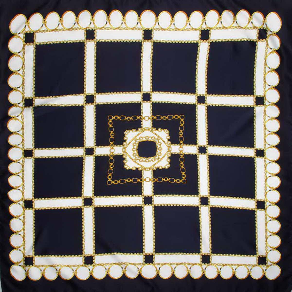 Платок женский Venera, цвет: темно-синий, белый, желтый. 3914783-11. Размер 90 см х 90 см3914783-11Стильный женский платок Venera станет великолепным завершением любого наряда. Платок изготовлен из полиэстера и оформлен принтом в виде цепей и колец. Классическая квадратная форма позволяет носить платок на шее, украшать им прическу или декорировать сумочку. Легкий и приятный на ощупь платок поможет вам создать изысканный женственный образ. Такой платок превосходно дополнит любой наряд и подчеркнет ваш неповторимый вкус и элегантность.