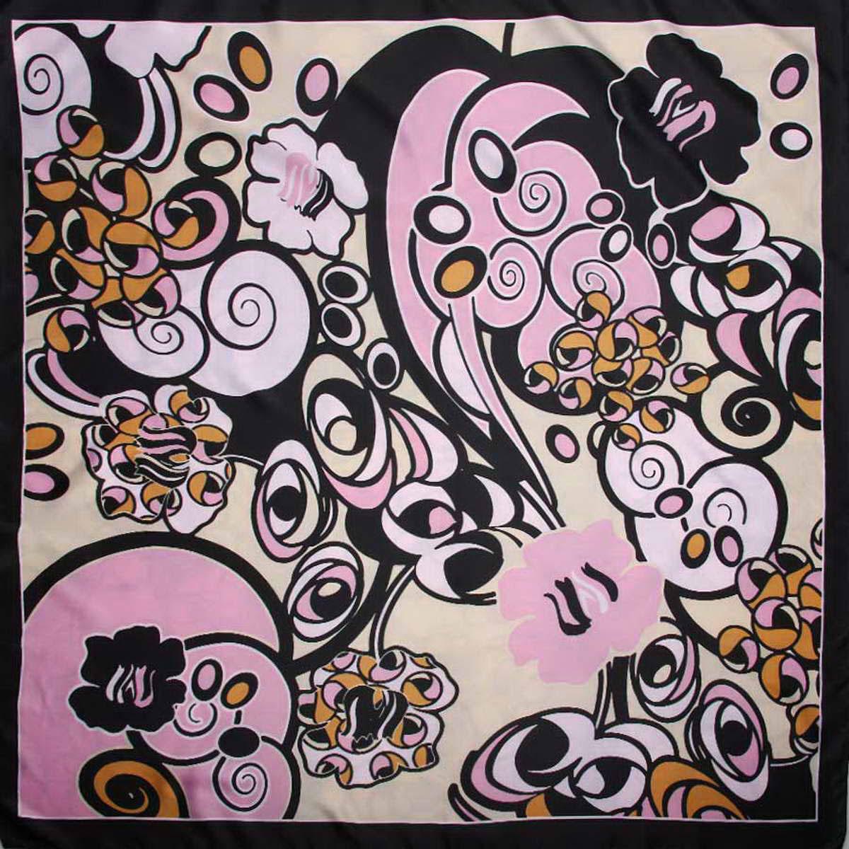 Платок женский Venera, цвет: черный, бежевый, розовый. 3915183-11. Размер 90 см х 90 см3915183-11Яркий женский платок Venera изготовлен из легкого и нежного полиэстера, станет глотком свежести и активности при любом вашем наряде. Сочетание цветов очень оригинальное и безупречное, а рисунки с геометрическими элементами создают эффект гипнотического поля, которое завораживает собою и дарит ощущение невероятного и космического. Такой платок станет неотъемлемым элементом вашего гардероба.Классическая квадратная форма позволяет носить платок на шее, украшать им прическу или декорировать сумочку.Платок Venera превосходно дополнит любой наряд и подчеркнет ваш неповторимый вкус и элегантность.