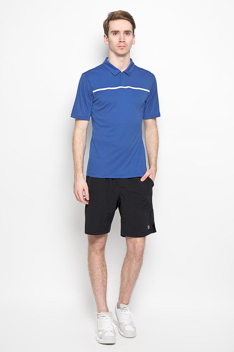 Поло для тенниса мужское Wilson Rush Color Inset Polo, цвет: синий, белый. WRA725302. Размер L (48/50)WRA725302Стильная мужская футболка для тенниса Wilson Rush Color Inset Polo, выполненная из полиэстера, обладает высокой теплопроводностью, воздухопроницаемостью и гигроскопичностью и великолепно отводит влагу, оставляя тело сухим даже во время интенсивных тренировок. Такая футболка превосходно подойдет для занятий спортом и активного отдыха. Модель с короткими рукавами и отложным воротником - идеальный вариант для занятий спортом. Такая футболка обеспечит свободу движений. Дополнительная вентиляция предусмотрена для лучшего воздухообмена. Эргономичные швы минимизируют натирание кожи, исключая дискомфорт. Бока модели и рукава дополнены перфорацией, сохраняя нормальную циркуляцию воздуха. Сверху футболка застегивается на две пластиковые пуговицы. Такая футболка подарит вам комфорт в течение всей игры и послужит замечательным дополнением к вашему гардеробу.
