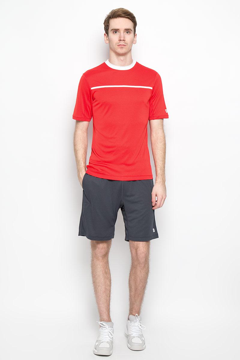 Футболка для тенниса мужская Wilson Rush Color Inset Crew, цвет: красный, белый. WRA725102. Размер L (48/50)WRA725102Стильная мужская футболка для тенниса Wilson Rush Color Inset Crew, выполненная из полиэстера, обладает высокой теплопроводностью, воздухопроницаемостью и гигроскопичностью и великолепно отводит влагу, оставляя тело сухим даже во время интенсивных тренировок. Такая футболка превосходно подойдет для занятий спортом и активного отдыха. Модель с короткими рукавами и круглым вырезом горловины - идеальный вариант для занятий спортом. Такая футболка обеспечит свободу движений. Дополнительная вентиляция предусмотрена для лучшего воздухообмена. Эргономичные швы минимизируют натирание кожи, исключая дискомфорт. Бока модели и рукава дополнены перфорацией, сохраняя нормальную циркуляцию воздуха. Такая футболка подарит вам комфорт в течение всей игры и послужит замечательным дополнением к вашему гардеробу.
