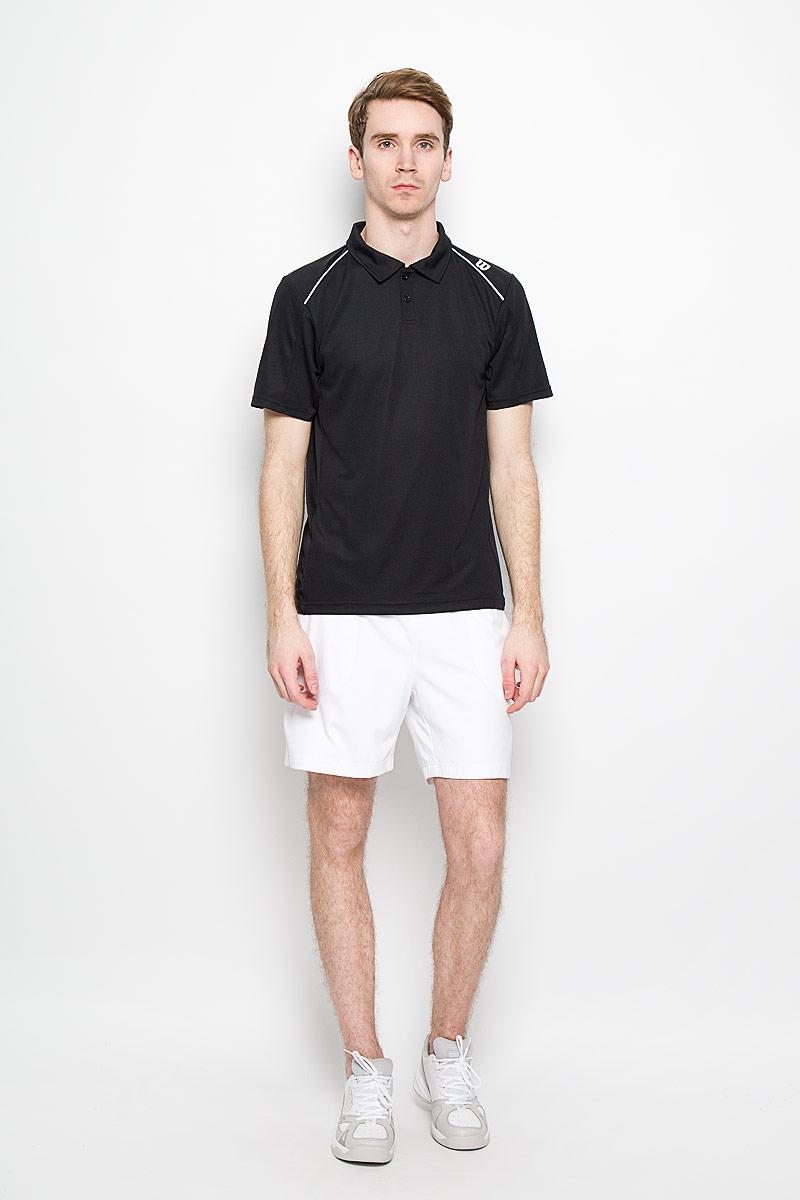 Футболка для тенниса мужская Wilson nVision Elite Polo , цвет: черный. WRA703206. Размер XL (50/52)WRA703206Стильная мужская футболка для тенниса Wilson nVision Elite Polo, выполненная из полиэстера, обладает высокой теплопроводностью, воздухопроницаемостью, гигроскопичностью и великолепно отводит влагу, оставляя тело сухим даже во время интенсивных тренировок. Такая футболка превосходно подойдет для занятий спортом и активного отдыха.Модель с короткими рукавами и отложным воротником - идеальный вариант для занятий спортом. Такая футболка обеспечит свободу движений. Дополнительная вентиляция предусмотрена для лучшего воздухообмена. Эргономичные швы минимизируют натирание кожи, исключая дискомфорт. Сверху футболка застегивается на две пластиковые пуговицы.Такая футболка подарит вам комфорт в течение всей игры и послужит замечательным дополнением к вашему гардеробу.