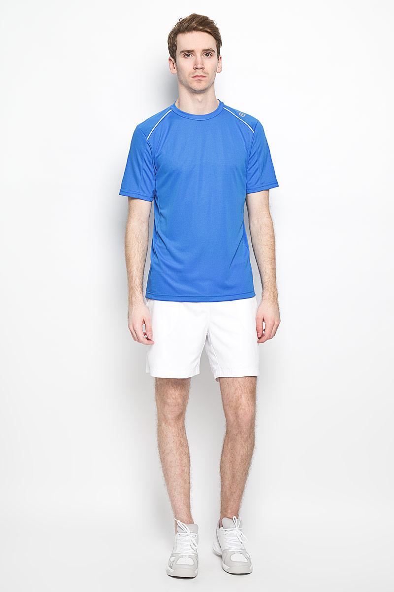 Футболка для тенниса мужская Wilson nVision Elite Crew, цвет: светло-синий. WRA703008. Размер M (46/48)WRA703008Стильная мужская футболка для тенниса Wilson nVision Elite Crew, выполненная из полиэстера, обладает высокой теплопроводностью, воздухопроницаемостью и гигроскопичностью, а также великолепно отводит влагу, оставляя тело сухим даже во время интенсивных тренировок. Она превосходно подойдет для занятий спортом и активного отдыха. Модель с короткими рукавами и круглым вырезом горловины - идеальный вариант для занятий спортом. Такая модель подарит вам комфорт в течение всего дня и послужит замечательным дополнением к вашему гардеробу.