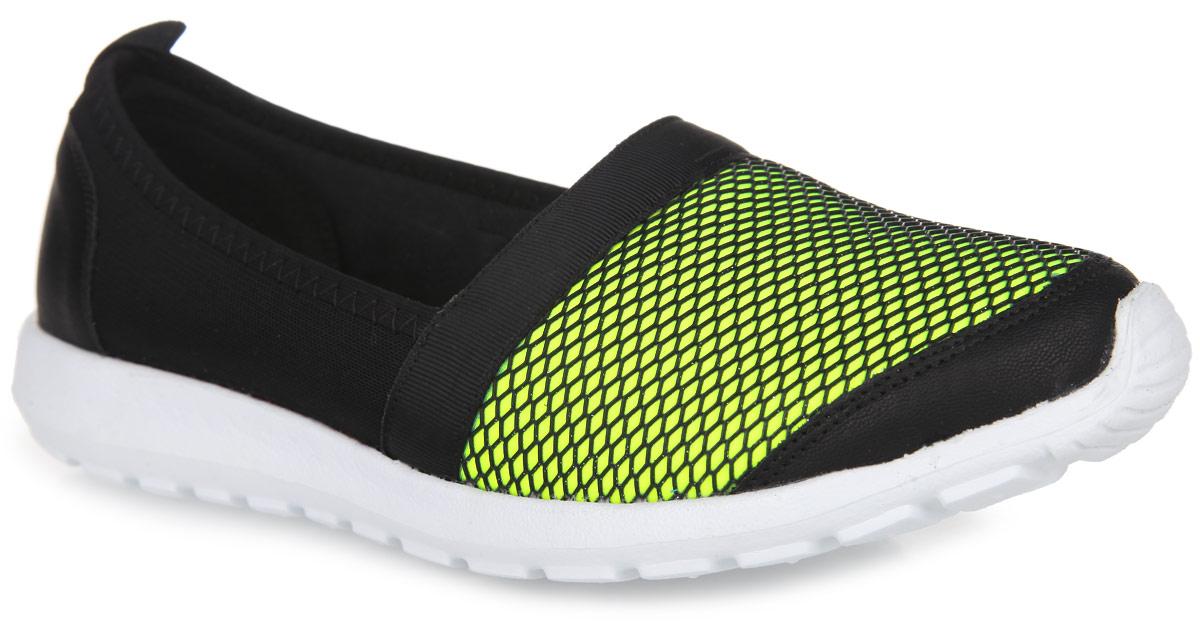 Туфли спортивные женские Daze, цвет: черный, салатовый. 16634S-1-1S. Размер 4016634S-1-1SСтильные спортивные туфли от Daze станут изюминкой вашего образа. Модель выполнена из синталина и дополнена вставками из искусственной кожи. Спереди обувь оформлена сеткой из искусственных материалов и блестками, на заднике - ярлычком для более удобного надевания обуви. Подкладка из синталина и стелька, изготовленная из текстильного материала, обеспечат комфорт и предотвратят натирание. Подошва из легкого материала ЭВА оснащена рифлением, обеспечивающим отличное сцепление с любыми поверхностями. Эффектные туфли покорят вас своим дизайном и удобством!