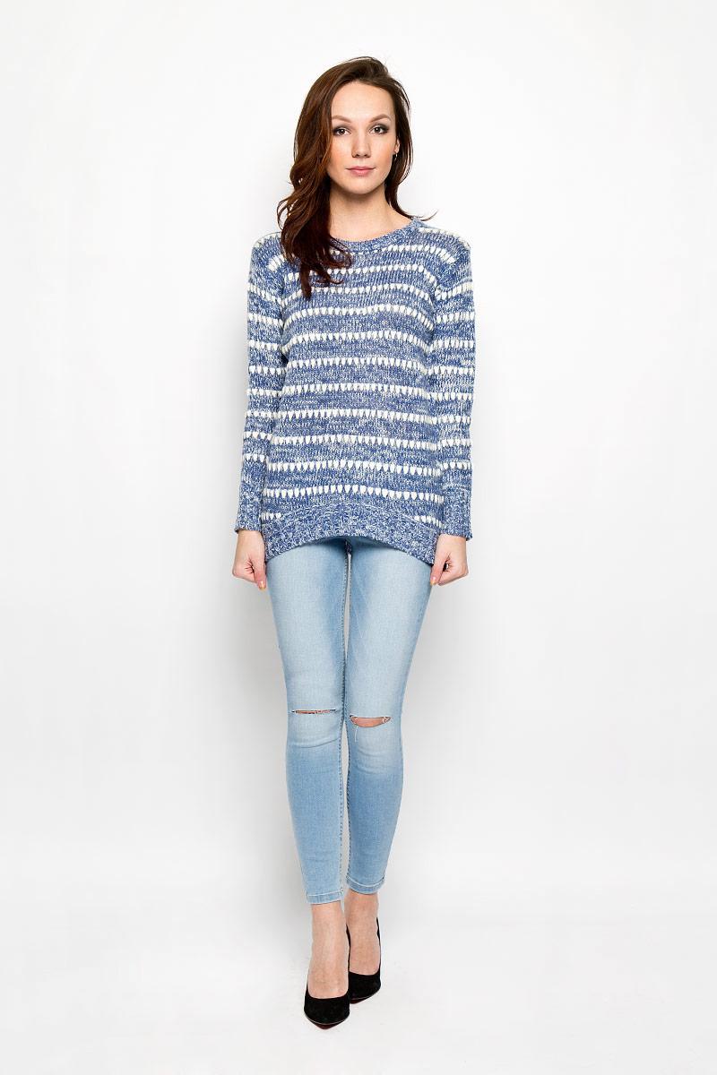 Пуловер женский Moodo, цвет: синий, белый. L-SW-2005 D.BLUE. Размер XL (50)L-SW-2005_D.BLUEСтильный женский пуловер Moodo изготовленный из высококачественной акриловой пряжи, не сковывает движения, обеспечивая наибольший комфорт.Модель с круглым вырезом горловины и длинными рукавами великолепно сидит. Низ, манжеты и вырез горловины пуловера связаны резинкой. Спинка немного удлинена. Пуловер крупной вязки поможет вам создать стильный современный образ в стиле Casual. Этот теплый и комфортный пуловер станет отличным дополнением к вашему гардеробу. В нем вы всегда будете чувствовать себя уютно в прохладное время года.