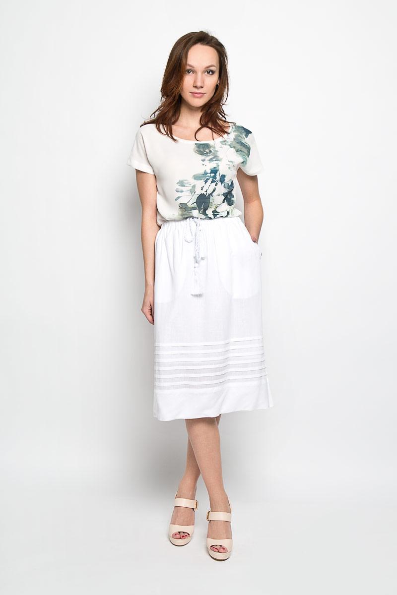 Юбка Baon, цвет: белый. B476032. Размер M (46)B476032_WHITEЭффектная юбка Baon, выполненная из вискозы и льна, обеспечит вам комфорт и удобство при носке. Юбка-миди имеет широкую эластичную резинку на поясе и дополнена завязками с кисточками. По бокам модели расположены втачные карманы. Модная юбка-миди выгодно освежит и разнообразит ваш гардероб. Создайте женственный образ и подчеркните свою яркую индивидуальность! Классический фасон и оригинальное оформление этой юбки сделают ваш образ непревзойденным.