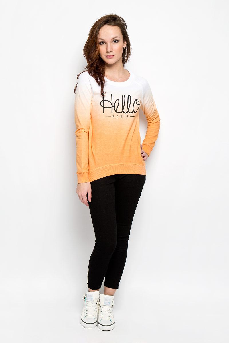 Джемпер женский Moodo, цвет: белый, оранжевый. L-BL-2012 ORANGE. Размер S (44)L-BL-2012_ORANGEСтильный женский джемпер Moodo, выполненный из хлопка с добавлением полиэстера, будет отличным дополнением в вашем гардеробе. Модель прямого кроя с длинными рукавами-реглан и круглым вырезом горловины оформлена принтовой надписью Hello Paris. Вырез горловины, манжеты и низ кофты выполнены вязкой резинка. Спинка немного удлинена. Классический покрой, лаконичный дизайн, безукоризненное качество. Идеальный вариант для тех, кто ценит комфорт и качество.