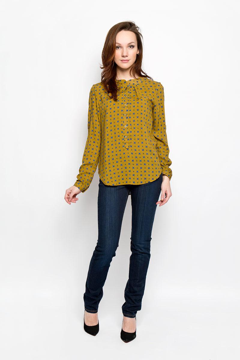 Блузка женская F5, цвет: горчичный. 160112_17329, Rayon, mustard. Размер S (44)160112_17329, Rayon, mustardСтильная женская блуза F5, выполненная из 100% вискозы, подчеркнет ваш уникальный стиль и поможет создать оригинальный женственный образ.Блузка с круглым вырезом горловины и длинными рукавами спереди и сзади оформлена складками. Манжеты рукавов застегиваются на пуговицы. Модель оформлена оригинальным принтом и идеально подойдет для жарких летних дней. Такая блузка будет дарить вам комфорт в течение всего дня и послужит замечательным дополнением к вашему гардеробу.