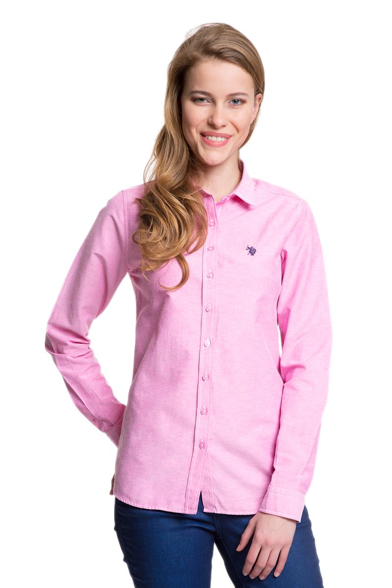 Рубашка женская U.S. Polo Assn., цвет: розовый. G082GL004HELGAWOX_MR0180. Размер 34 (40)G082GL004HELGAWOX_MR0180Женская рубашка U.S. Polo Assn. выполнена из высококачественного материала. Модель с отложным воротником и длинными рукавами застегивается спереди на пуговицы по всей длине. На манжетах предусмотрены застежки-пуговицы. Рубашка украшена вышитым логотипом бренда.