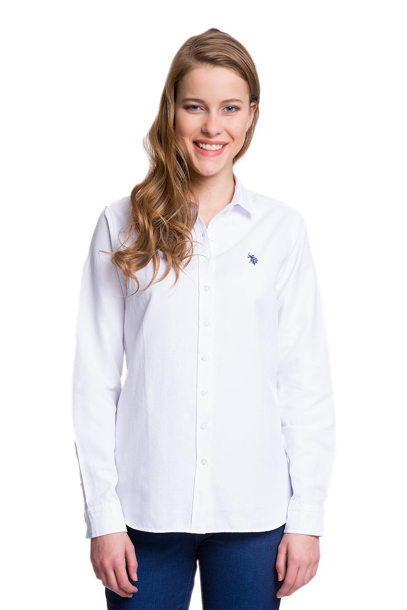 Рубашка женская U.S. Polo Assn., цвет: белый. G082GL004HELGAWOX_VR013. Размер 44 (50)G082GL004HELGAWOX_VR013Женская рубашка U.S. Polo Assn. выполнена из высококачественного материала. Модель с отложным воротником и длинными рукавами застегивается спереди на пуговицы по всей длине. На манжетах предусмотрены застежки-пуговицы. Рубашка украшена вышитым логотипом бренда.