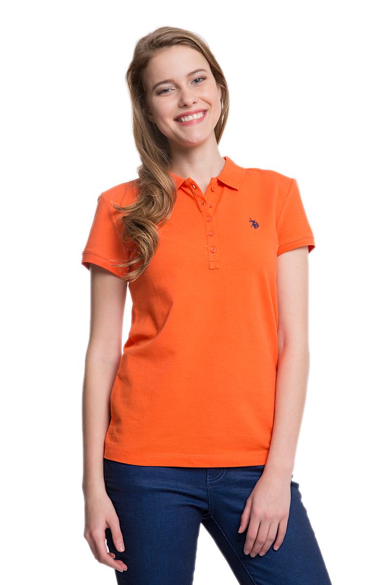 Поло женское U.S. Polo Assn., цвет: оранжевый. G082GL0110GTP01-IY06_TR0098. Размер XS (40)G082GL0110GTP01-IY06_TR0098Стильная женская футболка-поло U.S. Polo Assn., выполненная из высококачественного эластичного хлопка, обладает высокой теплопроводностью, воздухопроницаемостью и гигроскопичностью, позволяет коже дышать.Модель с короткими рукавами и отложным воротником - идеальный вариант для создания оригинального современного образа. Сверху футболка-поло застегивается на пластиковые пуговицы. Воротник и низ рукавов выполнены из трикотажной резинки. Модель оформлена на груди небольшой вышивкой.