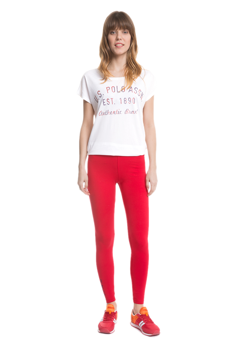 Леггинсы женские U.S. Polo Assn., цвет: красный. G082SZ0OP0MAYT_KR0148. Размер M (44)G082SZ0OP0MAYT_KR0148Женские леггинсы U.S. Polo Assn. изготовлены из эластичного хлопка и имеют широкую эластичную резинку на поясе. Модель украшена вышитой надписью.