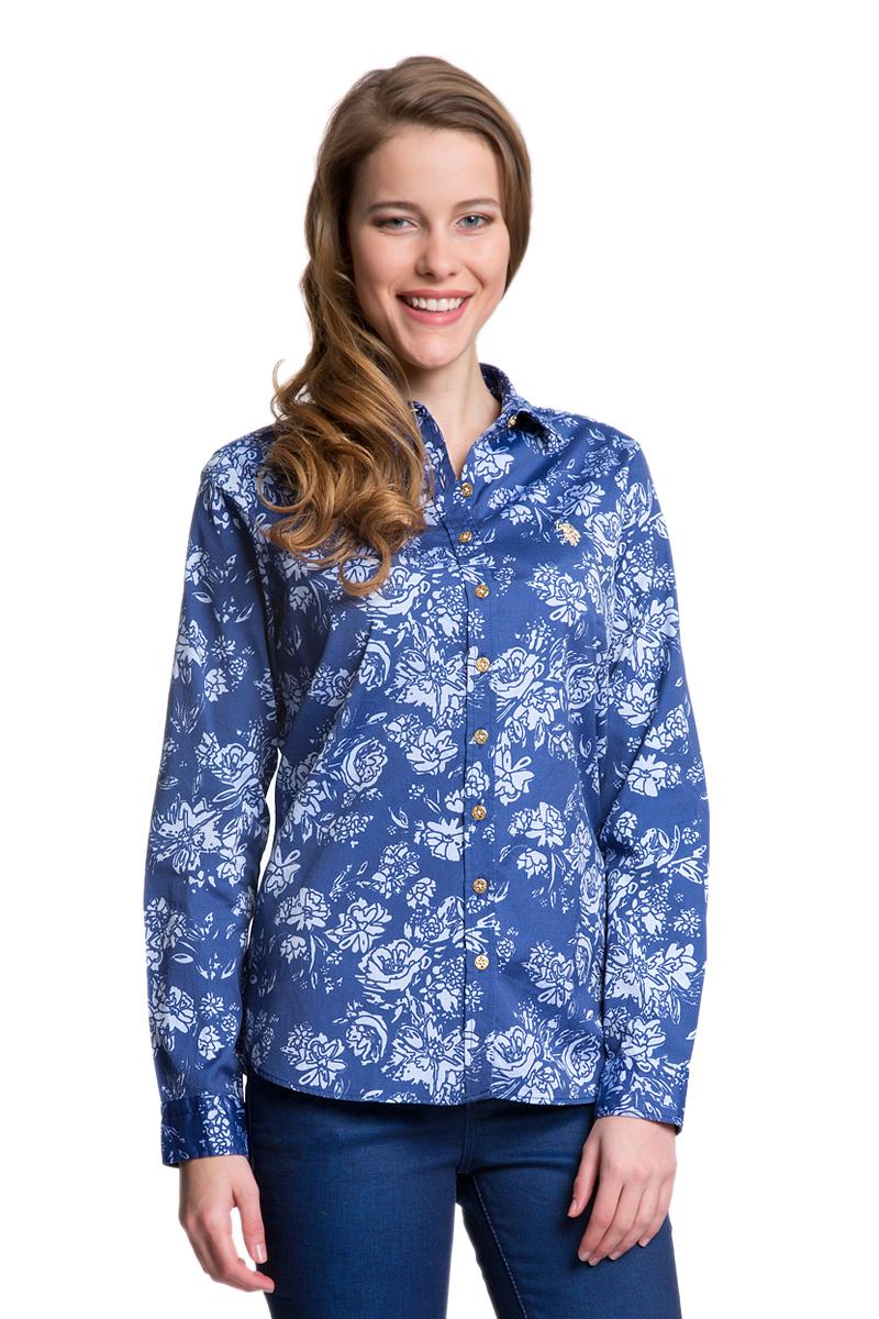 Рубашка женская U.S. Polo Assn., цвет: синий, голубой. G082SZ004HELGAFLOX_VR028. Размер 40 (46)G082SZ004HELGAFLOX_VR028Женская рубашка U.S. Polo Assn. выполнена из натурального хлопка. Модель с отложным воротником и длинными рукавами застегивается спереди на пуговицы по всей длине. На манжетах предусмотрены застежки-пуговицы. Рубашка украшена вышитым логотипом бренда.