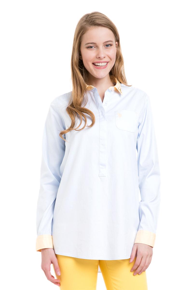 Рубашка женская U.S. Polo Assn., цвет: голубой. G082SZ004TALLMARISSA_VR003. Размер 40 (46)G082SZ004TALLMARISSA_VR003Женская рубашка U.S. Polo Assn. выполнена из натурального хлопка. Модель с отложным воротником и длинными рукавами застегивается спереди на пуговицы, которые скрыты за планкой. Воротник украшен декоративными элементами. На манжетах предусмотрены застежки-пуговицы. На груди рубашка дополнена накладным карманом. Спинка изделия немного удлинена.