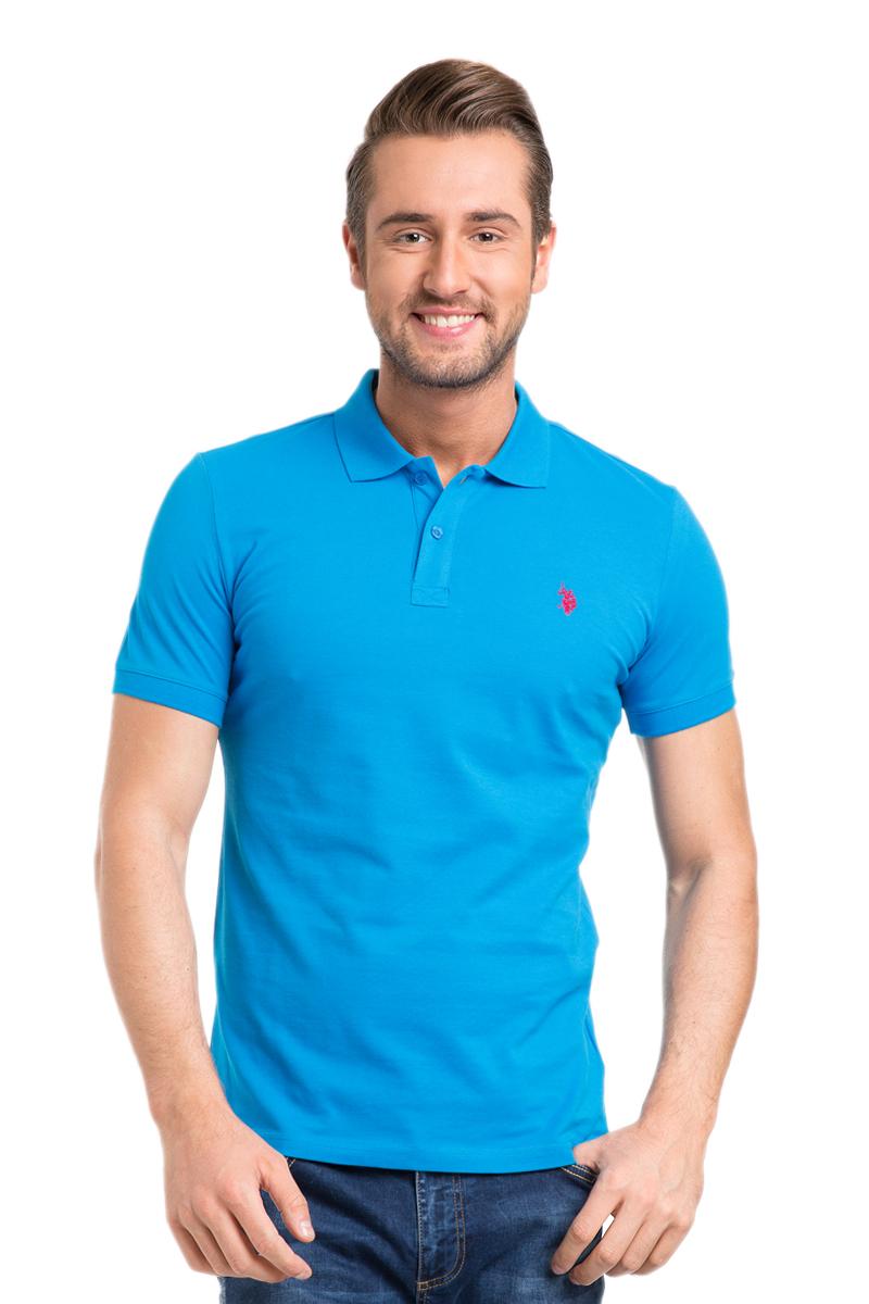 Поло мужское U.S. Polo Assn., цвет: ярко-голубой. G081GL0110GTP04IY6_MR0148. Размер L (50/52)G081GL0110GTP04IY6_MR0148Стильная мужская футболка-поло U.S. Polo Assn., выполненная из высококачественного хлопка, обладает высокой теплопроводностью, воздухопроницаемостью и гигроскопичностью, позволяет коже дышать.Модель с короткими рукавами и отложным воротником - идеальный вариант для создания оригинального современного образа. Сверху футболка-поло застегивается на две пуговицы. Воротник и низ рукавов выполнены из трикотажной резинки. Модель оформлена на груди небольшой вышивкой.