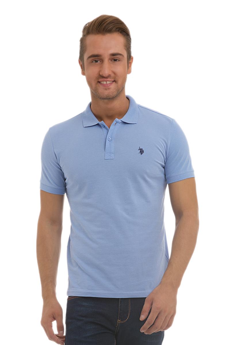 Поло мужское U.S. Polo Assn., цвет: голубой. G081GL0110GTP04IY6_MV0261. Размер XS (42/44)G081GL0110GTP04IY6_MV0261Стильная мужская футболка-поло U.S. Polo Assn., выполненная из высококачественного хлопка, обладает высокой теплопроводностью, воздухопроницаемостью и гигроскопичностью, позволяет коже дышать.Модель с короткими рукавами и отложным воротником - идеальный вариант для создания оригинального современного образа. Сверху футболка-поло застегивается на две пуговицы. Воротник и низ рукавов выполнены из трикотажной резинки. Модель оформлена на груди небольшой вышивкой.