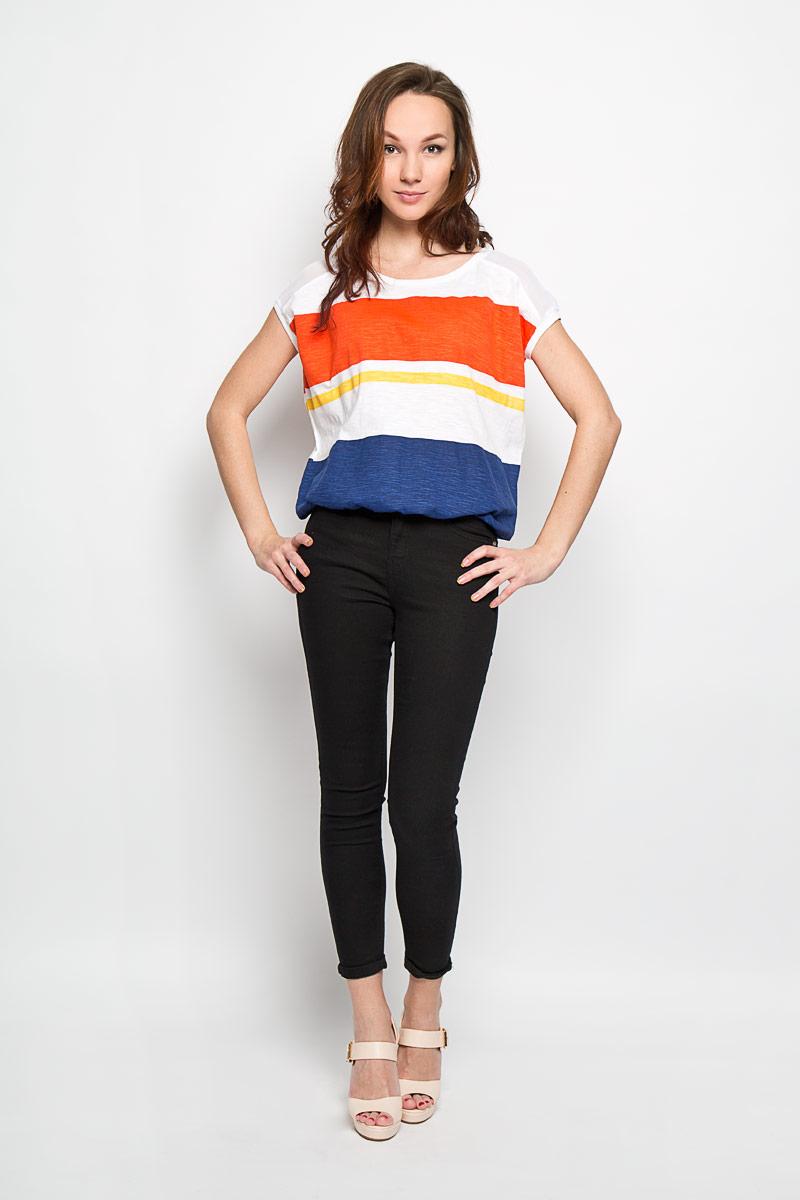 Футболка женская Moodo, цвет: темно-синий, белый, морковный. L-TS-2008 NAVY. Размер XL (50)L-TS-2008_NAVYЖенская футболка Moodo поможет создать отличный современный образ в стиле Casual. Модель, изготовленная из натурального хлопка, очень мягкая, тактильно приятная и не сковывает движения. Футболка с круглым вырезом горловины и короткими рукавами кимоно оформлена принтом в полоску. Вырез горловины и манжеты рукавов дополнены трикотажной резинкой. Нижняя часть модели на резинке.Такая футболка станет стильным дополнением к вашему гардеробу, она подарит вам комфорт в течение всего дня!