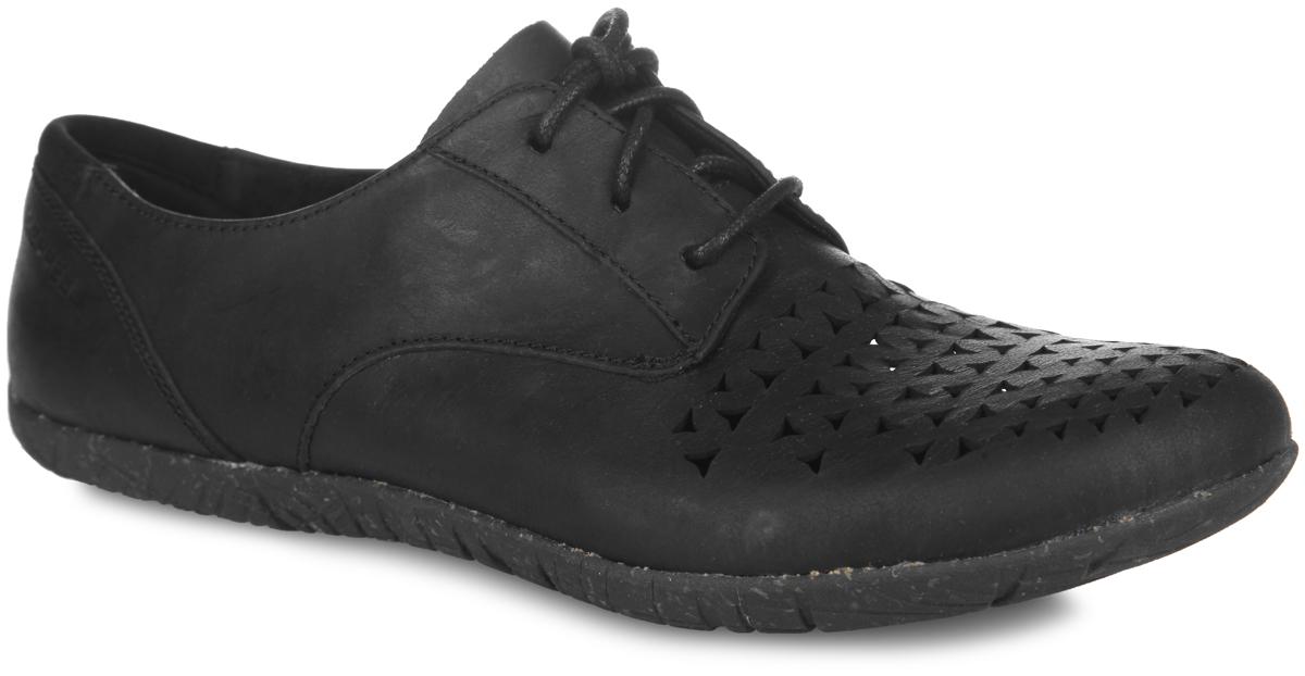 Полуботинки женские Merrell Mimix Cheer, цвет: черный. J55508. Размер 8H (40)J55508Женские полуботинки от Merrell Mimix Cheer - отличный вариант на каждый день. Модель выполнена из натуральной кожи и оформлена в передней части резными узорами, которые обеспечивают лучшую воздухопроницаемость. Подъем дополнен шнуровкой, надежно фиксирующей обувь на стопе. Стелька с памятью выполнена из текстиля. Технология стельки M Select Fresh естественным образом устраняет бактерии - причину возникновения неприятного запаха внутри ботинка. Текстильная подкладка обеспечит комфорт и предотвратит натирание. Задник оформлен текстильной вставкой и фирменным тиснением. Подошва M Select Grip гарантирует долговечность. Специальный рисунок протектора, обеспечивающий отличное сцепление на разных видах поверхности, сконструирован таким образом, чтобы в его элементах не застревали мелкие камни, не удерживалась земля.