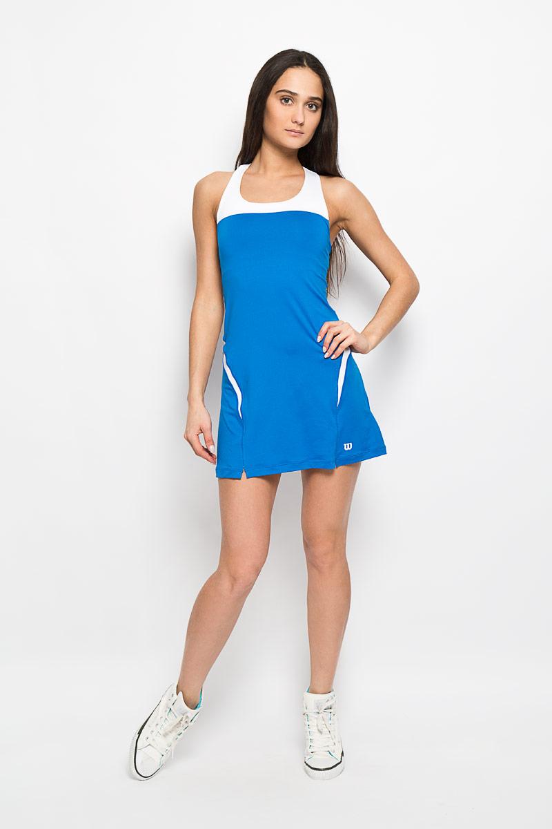 Платье для тенниса Wilson Team Dress II, цвет: белый, темно-голубой. WRA709708. Размер L (46/48)WRA709708Платье для тенниса Wilson Team Dress II выполненное из полиэстера с добавлением эластана с использованием технологии nanoWIK. Технология nanoWIK создает еще больший комфорт, помогая влаге испаряться с поверхности кожи. Платье приталенного силуэта, длинной до середины бедра с круглым вырезом горловины и перекрещивающимися на спине лямками. Платье дополнено вшитым топом-бра, который по низу дополнен широкой эластичной резинкой, поддерживающей грудь. Модель оформлена оригинальными вставками, а низ дополнен двумя небольшими разрезами.Такая модель подарит вам комфорт во время занятий спортом и активного отдыха.