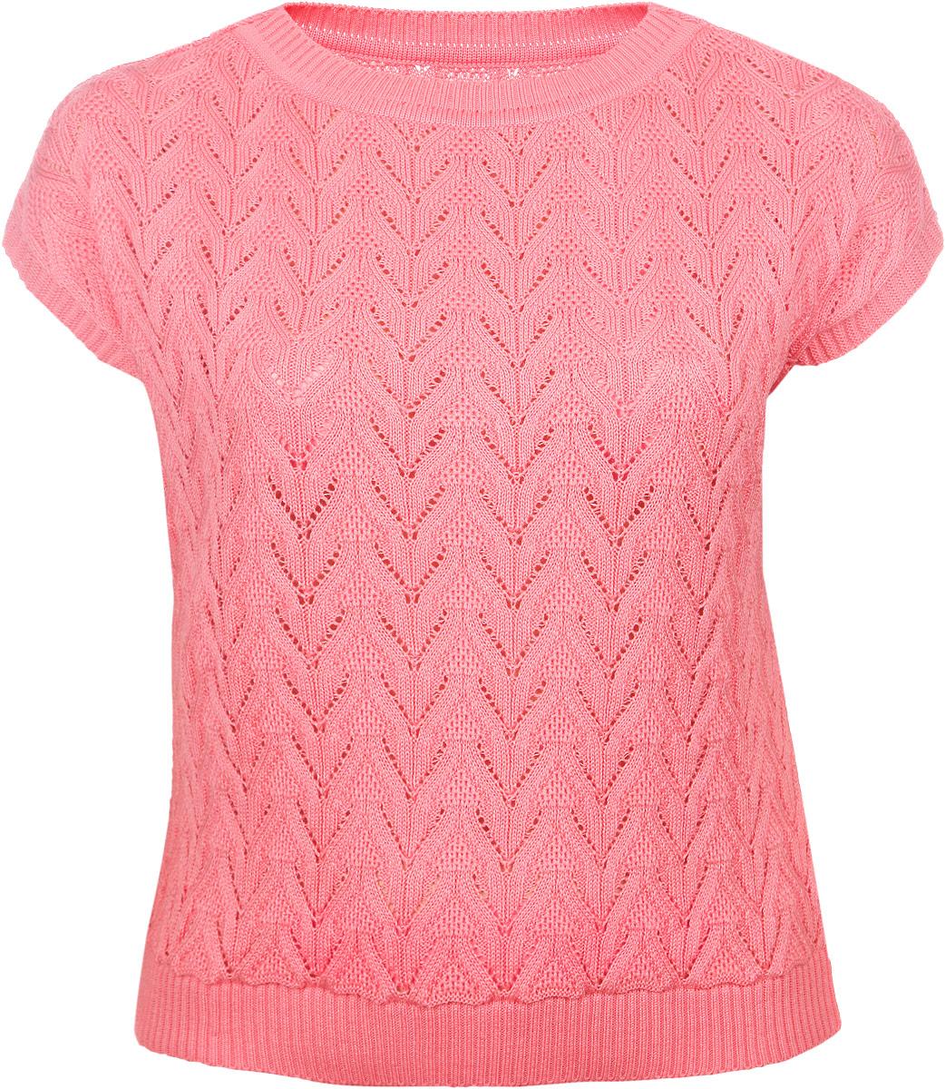 Джемпер женский Milana Style, цвет: кораллово-розовый. 1112. Размер 7XL (62)1112Женский джемпер Milana Style, изготовленный из ПАН-волокна с добавлением шерсти, подчеркнет ваш уникальный стиль. Материал очень мягкий, имеет приятную на ощупь текстуру, не сковывает движения и хорошо вентилируется. Джемпер с круглым вырезом горловины и короткими рукавами оформлен вязаным ажурным рисунком. Вырез горловины, края рукавов и низ изделия связаны резинкой. Такой джемпер будет дарить вам комфорт в течение всего дня и станет замечательным дополнением к вашему гардеробу.