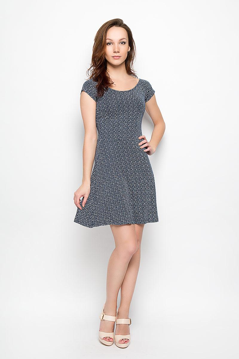 Платье Moodo, цвет: темно-синий, белый. L-SU-2008 NAVY. Размер L (48)L-SU-2008_NAVYМодное платье Moodo станет отличным дополнением к вашему гардеробу. Модель, изготовленная из вискозы с добавлением эластана, очень мягкая, тактильно приятная, не сковывает движения и позволяет коже дышать.Платье приталенного кроя с круглым вырезом горловины и короткими рукавами-кимоно оформлено оригинальным принтом. Вырез горловины дополнен эластичной резинкой. Платье имеет пришивную расклешенную юбку средней длины.Такое платье станет стильным дополнением к вашему гардеробу, оно подарит вам комфорт в течение всего дня!