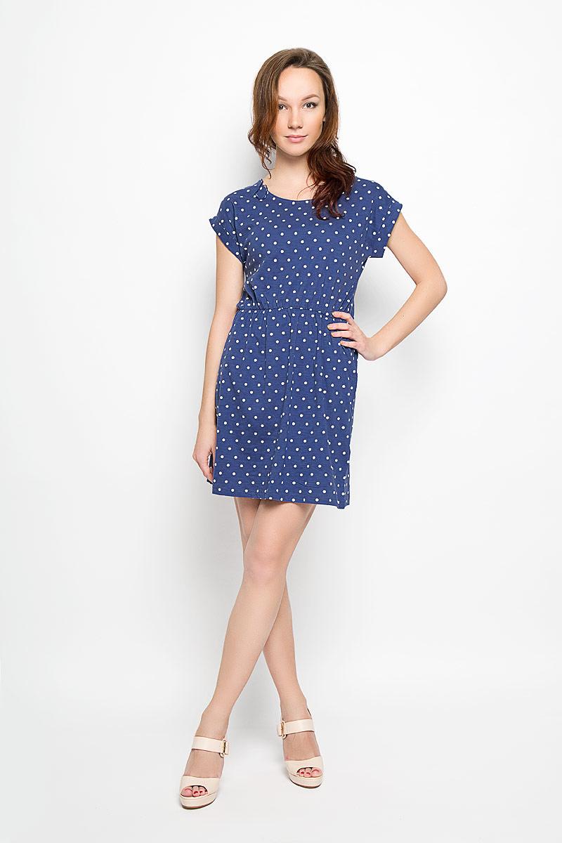 Платье Moodo, цвет: синий, белый. L-SU-2007 D.BLUE. Размер M (46)L-SU-2007_D.BLUEСтильное платье Moodo выполнено из натурального хлопка и оформлено принтом в горох.Платье с круглым вырезом горловины и короткими рукавами-кимоно придется вам по душе. Рукава дополнены декоративными отворотами. На талии предусмотрена эластичная резинка. Спереди расположены два втачных кармана. Такое платье станет стильным дополнением к вашему гардеробу, оно подарит вам комфорт в течение всего дня!