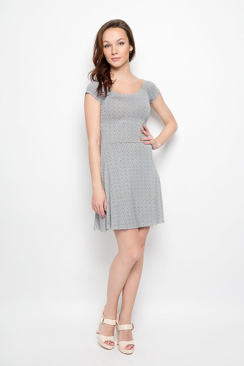 Платье Moodo, цвет: серый, черный. L-SU-2008 GREY MEL. Размер XS (42)L-SU-2008_GREY_MELМодное платье Moodo станет отличным дополнением к вашему гардеробу. Модель, изготовленная из вискозы с добавлением эластана, очень мягкая, тактильно приятная, не сковывает движения и позволяет коже дышать.Платье приталенного кроя с круглым вырезом горловины и короткими рукавами-кимоно оформлено оригинальным принтом. Вырез горловины дополнен эластичной резинкой. Платье имеет пришивную расклешенную юбку средней длины.Такое платье станет стильным дополнением к вашему гардеробу, оно подарит вам комфорт в течение всего дня!