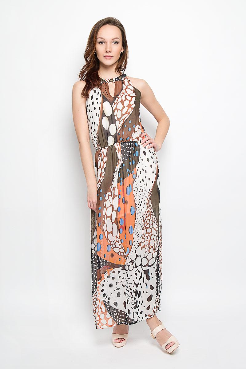Платье Baon, цвет: коричневый, белый, оранжевый. B466014. Размер L (48)B466014_Terracota-Milk PrintedПлатье Baon станет стильным дополнением к вашему летнему гардеробу. Выполненное из тонкой полупрозрачной ткани, оно очень легкое и воздушное, тактильно приятное, не сковывает движений, хорошо вентилируется. Подкладка платья выполнена из полиэстера.Модель с круглым вырезом горловины застегивается по спинке на две пуговицы. Линия талии выгодно подчеркнута вшитой эластичной резинкой. Сбоку предусмотрен эффектный разрез. Изделие оформлено ярким принтом, украшено по вырезу горловины декоративными элементами. Такое платье непременно украсит ваш гардероб и добавит образу женственности!