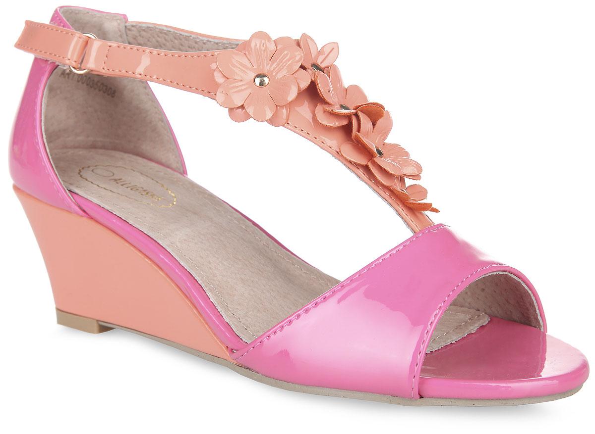 Босоножки для девочки Аллигаша, цвет: коралловый, розовый. 000350308. Размер 37000350308Яркие босоножки на невысокой устойчивой танкетке от Аллигаша придутся подуше вашей маленькой моднице и идеально подойдут для повседневной носкив летнюю погоду, а также для торжественных моментов! Модель с открытымносом выполнена из искусственной лакированной кожи. Ремешок на подъемеукрашен оригинальной аппликацией в виде изящных цветов. Закрытая пятка иремешок на застежке-липучке надежно зафиксируют изделие на ножке ребенка.Подкладка и стелька изготовлены из натуральной кожи. Подошва оснащенарифлением для лучшего сцепления с поверхностями. Стильные босоножки -незаменимая вещь в гардеробе каждой девочки!