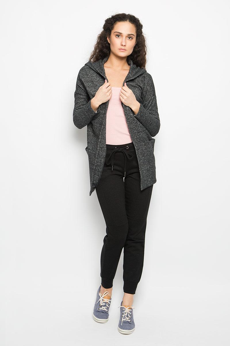 Кардиган женский Moodo, цвет: темно-серый меланж. L-BL-2010 BLACK MEL. Размер S (44)L-BL-2010_BLACK_MELСтильный женский кардиган Moodo выполнен из хлопка и полиэстера. Модель свободного кроя с длинными рукавами-кимоно и воротником-шаль дополнена капюшоном. С изнаночной стороны - мягкий ворсистый материал, приятный на ощупь. Кардиган не имеет застежек, благодаря чему красиво и элегантно драпируется. Понизу имеются два накладных кармана. Уютный кардиган - идеальный вариант для создания неотразимого образа. Такая модель будет дарить вам комфорт в течение всего дня и послужит замечательным дополнением к вашему гардеробу.