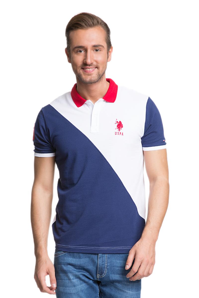 Поло мужское U.S. Polo Assn., цвет: темно-синий, белый. G081GL0110IGME_LC0023. Размер S (44/46) u s polo assn футболка u s polo assn g081gl0110readman mv0049 синий
