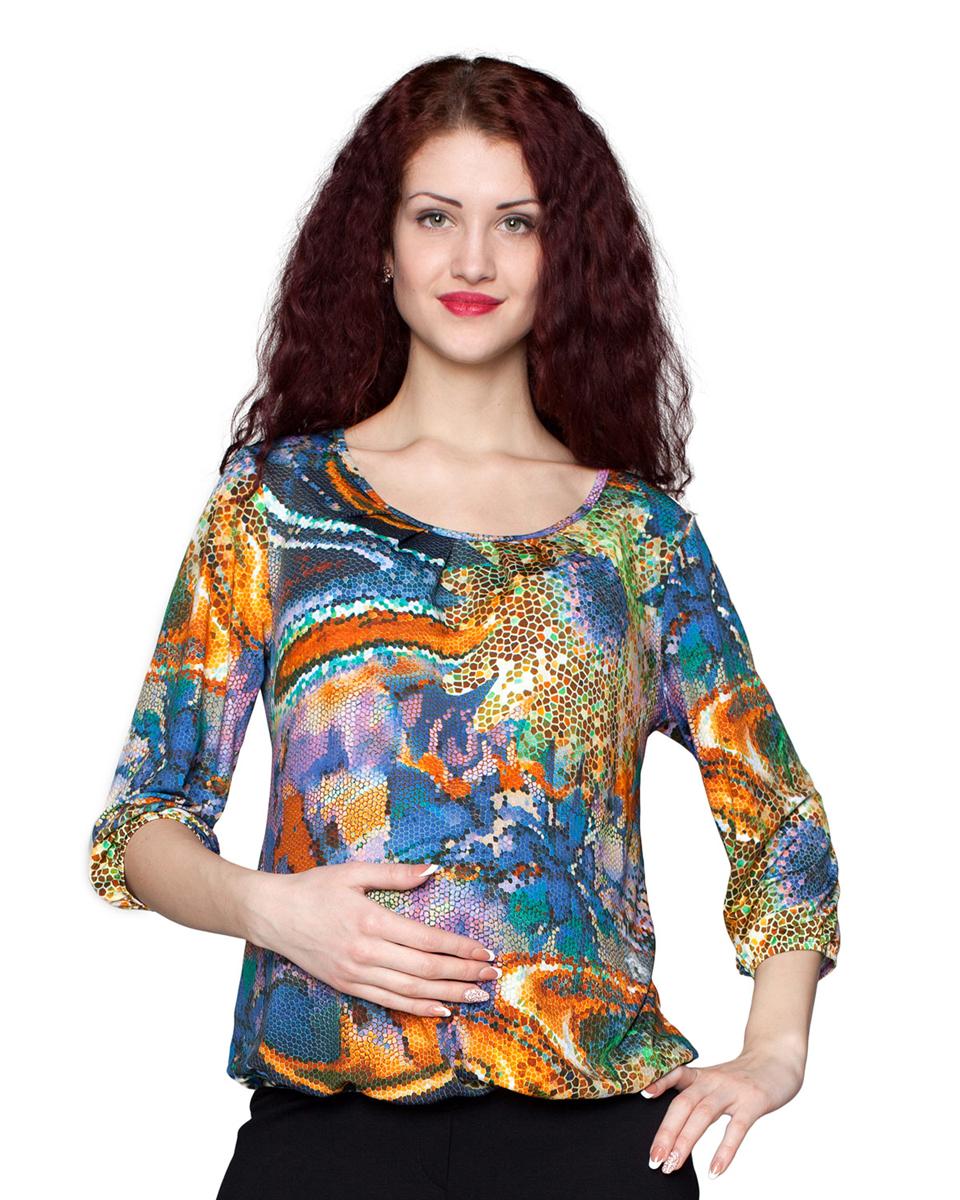 Блузка для беременных Фэст, цвет: желтый, фиолетовый. 1-113525В. Размер XXXL (54)1-113525ВЯркая блузка с округлым вырезом горловины послужит удачным дополнением к юбкам, брюкам и джинсам. Фэст — одежда по вашей фигуре.
