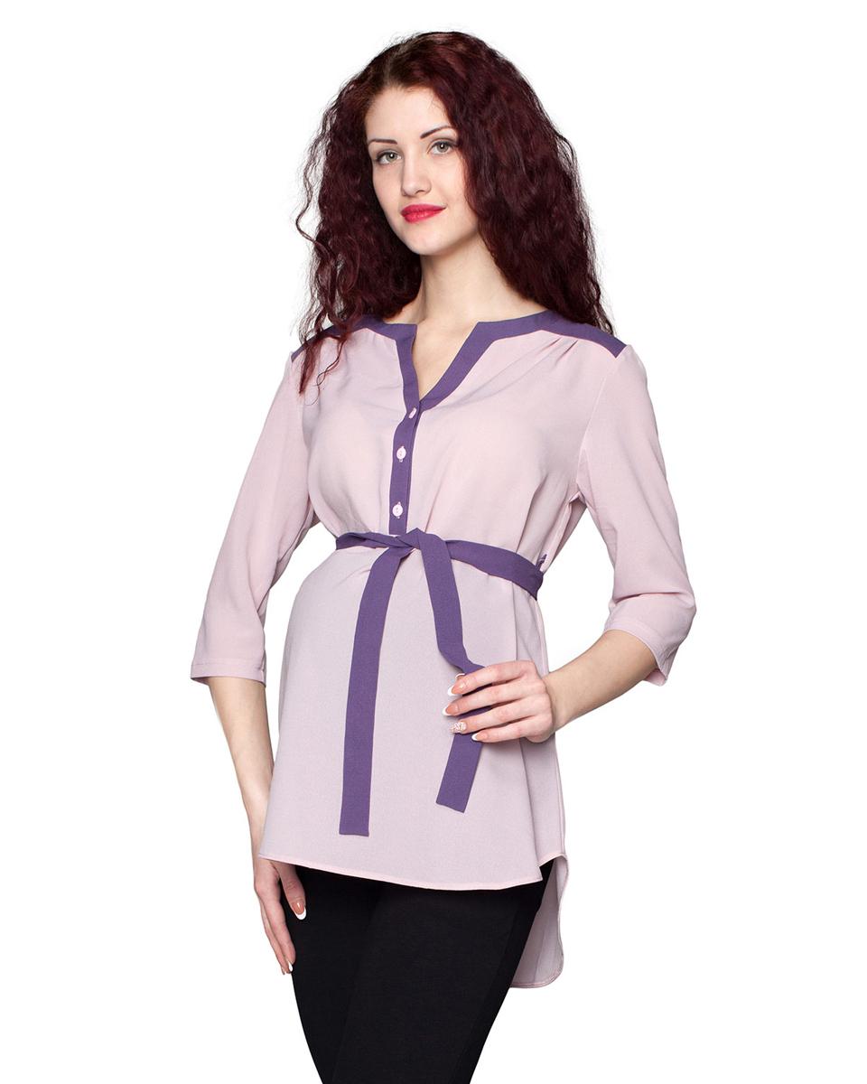 Блузка для беременных Фэст, цвет: розовый, фиолетовый. 1-185518В. Размер S (44)1-185518ВБлузка, выполненная в комбинации из однотонных полотен, будет радовать вас не только в период беременности, но и в период кормления малыша. Фэст — одежда по вашей фигуре.