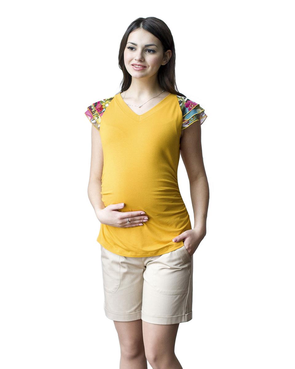 Блузка для беременных Фэст, цвет: горчичный. 06509. Размер XXXL (54)06509Яркая летняя блузка с рукавами крылышками из сетки, удачно сочетается с любыми предметами гардероба. Фэст — одежда по вашей фигуре.