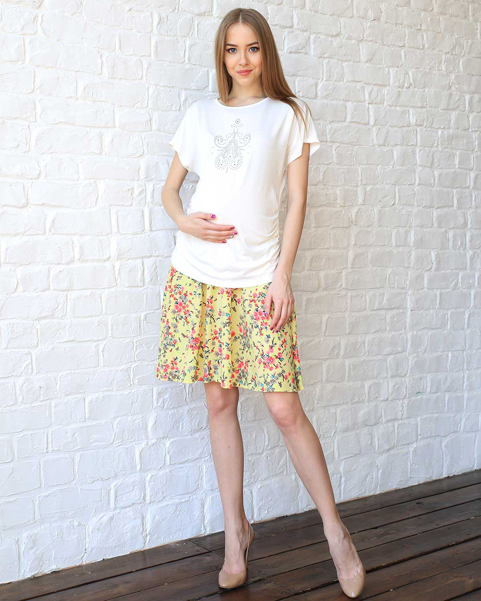 Юбка для беременных Фэст, цвет: желтый, розовый. 93501. Размер XL (50)93501Яркая юбка с цветочным принтом будет незаменима в жаркую летнюю погоду. Эластичная вставка обеспечит комфорт растущему животику. Фэст — одежда по вашей фигуре.