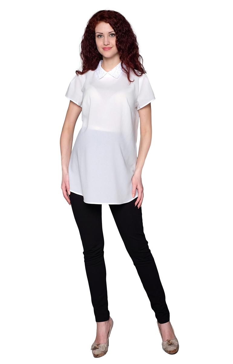 Блузка для беременных Фэст, цвет: белый. 3-143518А. Размер XL (50)3-143518АБлузка для беременных женщин расклешенного силуэта с кружевным воротничком. Фэст - одежда по вашей фигуре.