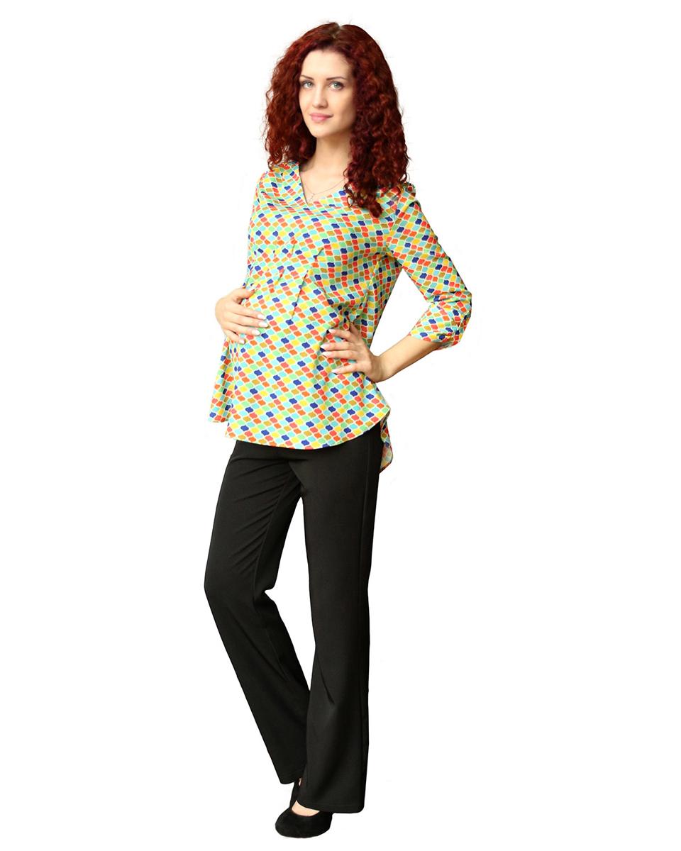 Блузка для беременных Фэст, цвет: желтый, оранжевый. 182518В. Размер L (48)182518ВЭффектная яркая блузка будет радовать вас на любом сроке беременности, благодаря мягким складкам и легкой, струящейся ткани. Возможна регулировка рукава по длине. Фэст - одежда по вашей фигуре.