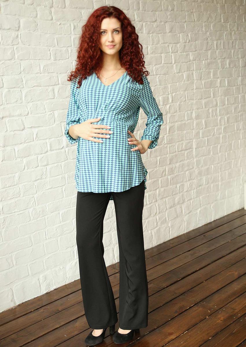 Блузка для беременных Фэст, цвет: синий, бирюзовый. 182518В. Размер XXL (52)182518ВЭффектная яркая блузка будет радовать вас на любом сроке беременности, благодаря мягким складкам и легкой, струящейся ткани. Возможна регулировка рукава по длине. Фэст - одежда по вашей фигуре.