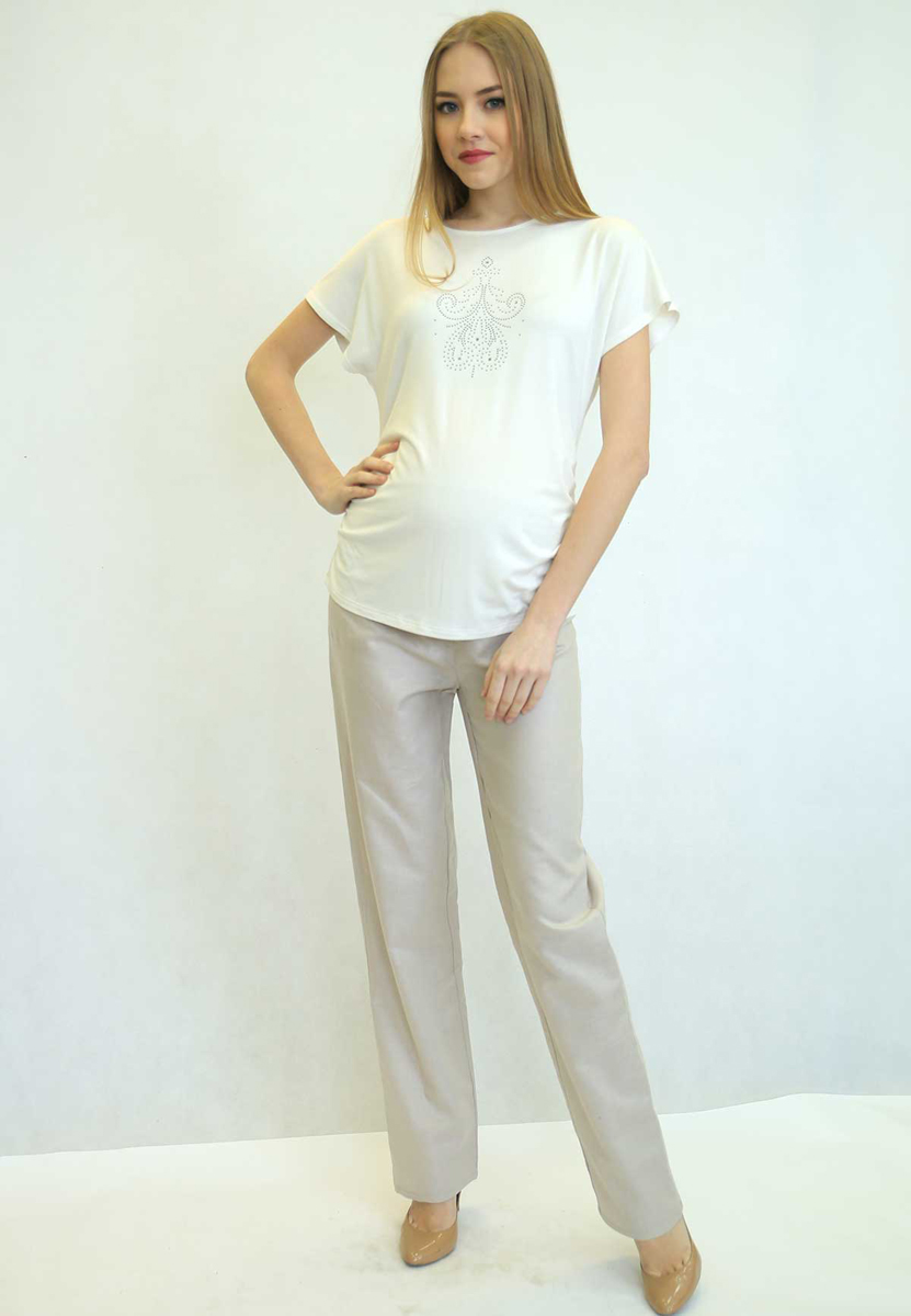 Брюки для беременных Фэст, цвет: бежевый. 45516. Размер S (44)45516Классические прямые брюки из натурального полотна. Эластичная трикотажная вставка в области животика обеспечит комфорт в ожидании малыша. Фэст — одежда по вашей фигуре.