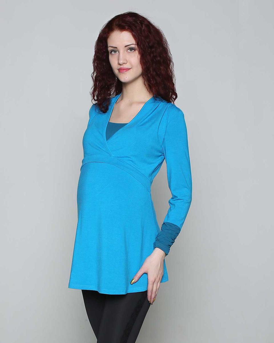 Джемпер для беременных и кормящих Фэст, цвет: голубой, морская волна. 189514Е. Размер XXL (52)189514ЕДжемпер для беременных и кормящих мамочек выполнен в комбинации однотонных полотен. Кокетка на запах, под которой расположен секрет для кормления. Фэст - одежда по вашей фигуре.