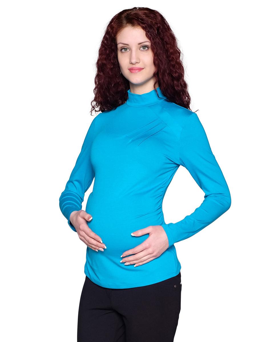 Водолазка для беременных Фэст, цвет: лазурный. 161509Е. Размер XXL (52)161509ЕFashion-вариант классической водолазки подойдет для офиса и для прогулки, составит комплект с юбкой или брюками. Модель украшена асимметричными членениями и защипами. Фэст - одежда по вашей фигуре.