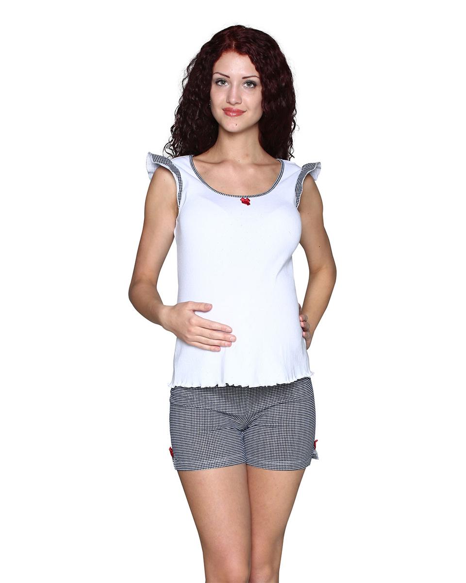 Комплект одежды для беременных Фэст: майка, шорты, цвет: белый, темно-синий. П80504К. Размер L (48)П80504КСимпатичный и удобный комплект для беременных, состоящий из майки и шортиков, выполнен из хлопка. Майка имеет интересный рукав-крылышко. Шорты выполнены с эластичным поясом под живот. Фэст - одежда по вашей фигуре.