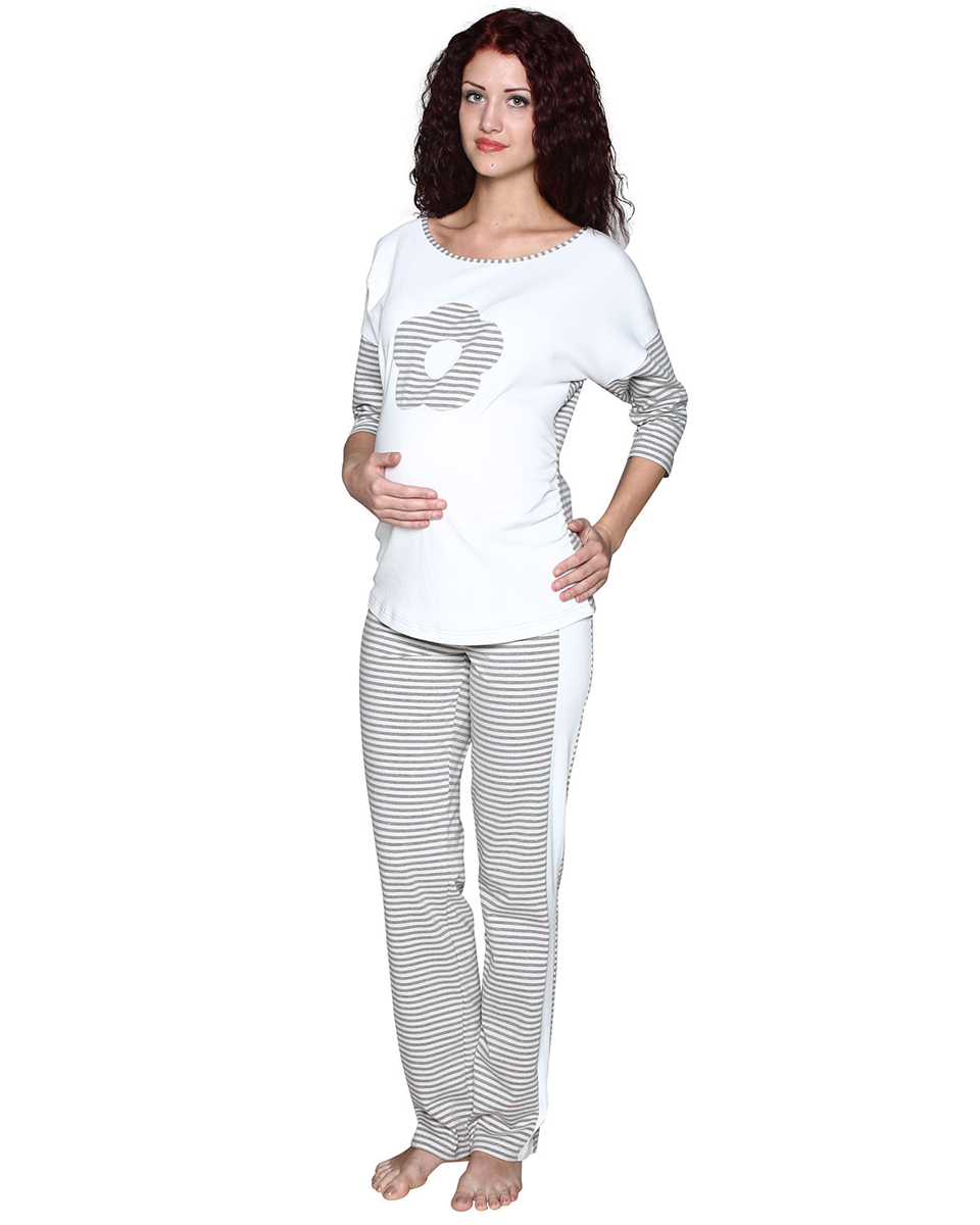 Комплект одежды для беременных Фэст: лонгслив, брюки, цвет: молочный, серый. П77505НК. Размер XXXL (54)П77505НККомплект женский для беременных, состоящий из лонгслива и брюк, выполнен из хлопка из комбинации полотен. Лонгслив украшен декоративным элементом в виде цветка. Брюки с лампасами, выполнены с эластичным поясом под живот. Фэст - одежда по вашей фигуре.