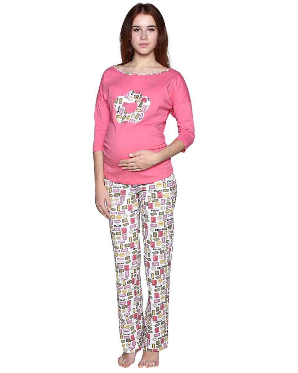 Комплект одежды для беременных Фэст: логслив, брюки, цвет: розовый, белый. П77504К. Размер XXXL (54)П77504КЗамечательный комплект, состоящий из однотонного лонгслива с аппликацией и брюк из набивной ткани. Фэст - одежда по вашей фигуре.