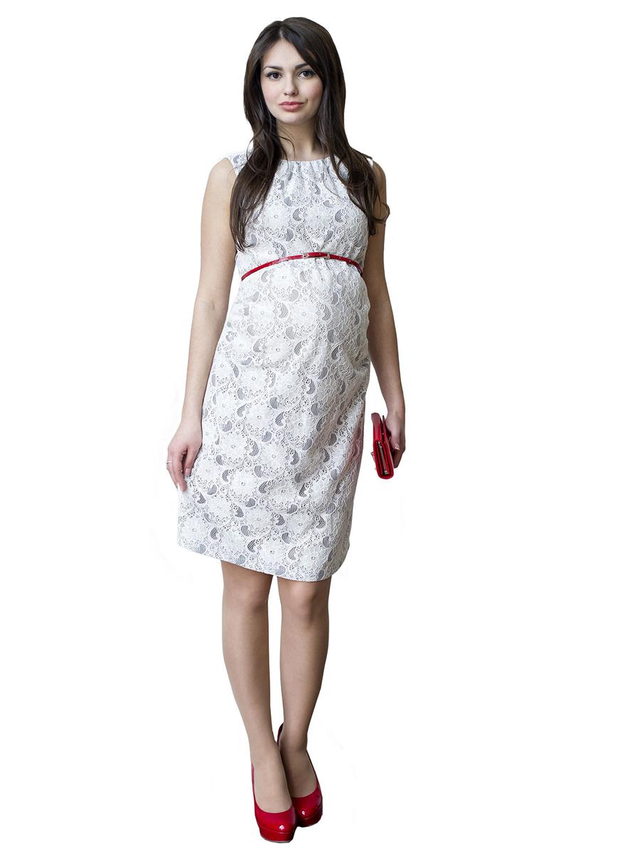 Платье для беременных Фэст, цвет: белый. 114518. Размер L (48)114518Платье-футляр без рукава, выполнено из кружевного полотна и дополнено ярким пояском. Объем на животик обеспечен сборкой по боковым швам. Замечательный вариант на выход и для повседневной носки. Фэст - одежда по вашей фигуре.