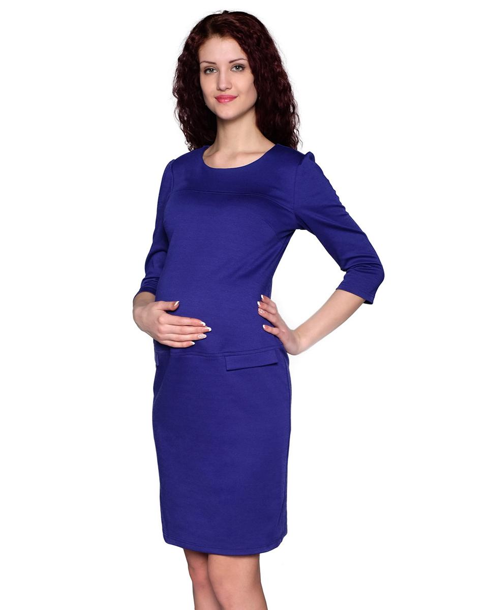 Платье для беременных Фэст, цвет: индиго. 122507В. Размер L (48)122507ВИзящное платье классического покроя с рукавом три четверти и округлым вырезом горловины выполнено из однотонного полотна. Простой и стильный фасон - отличный офисный вариант. Фэст - одежда по вашей фигуре.