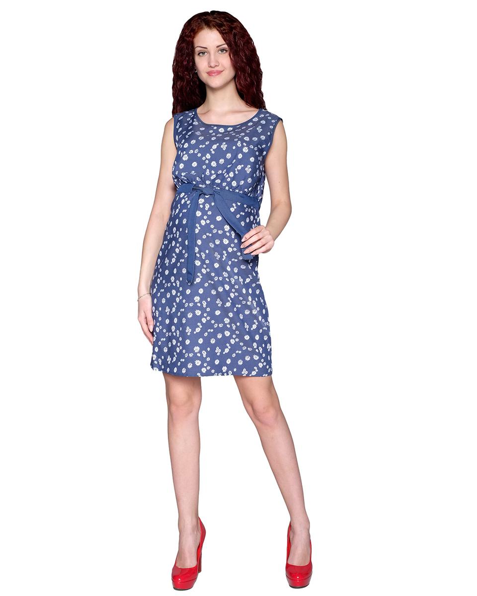 Платье для беременных Фэст, цвет: синий, белый. 3-21514. Размер L (48)3-21514Сарафан для беременных и кормящих мамочек актуальной расцветки. Благодаря кнопкам на полочке и кулисе с поясом его можно носить и в период кормления малыша. Фэст — одежда по вашей фигуре.