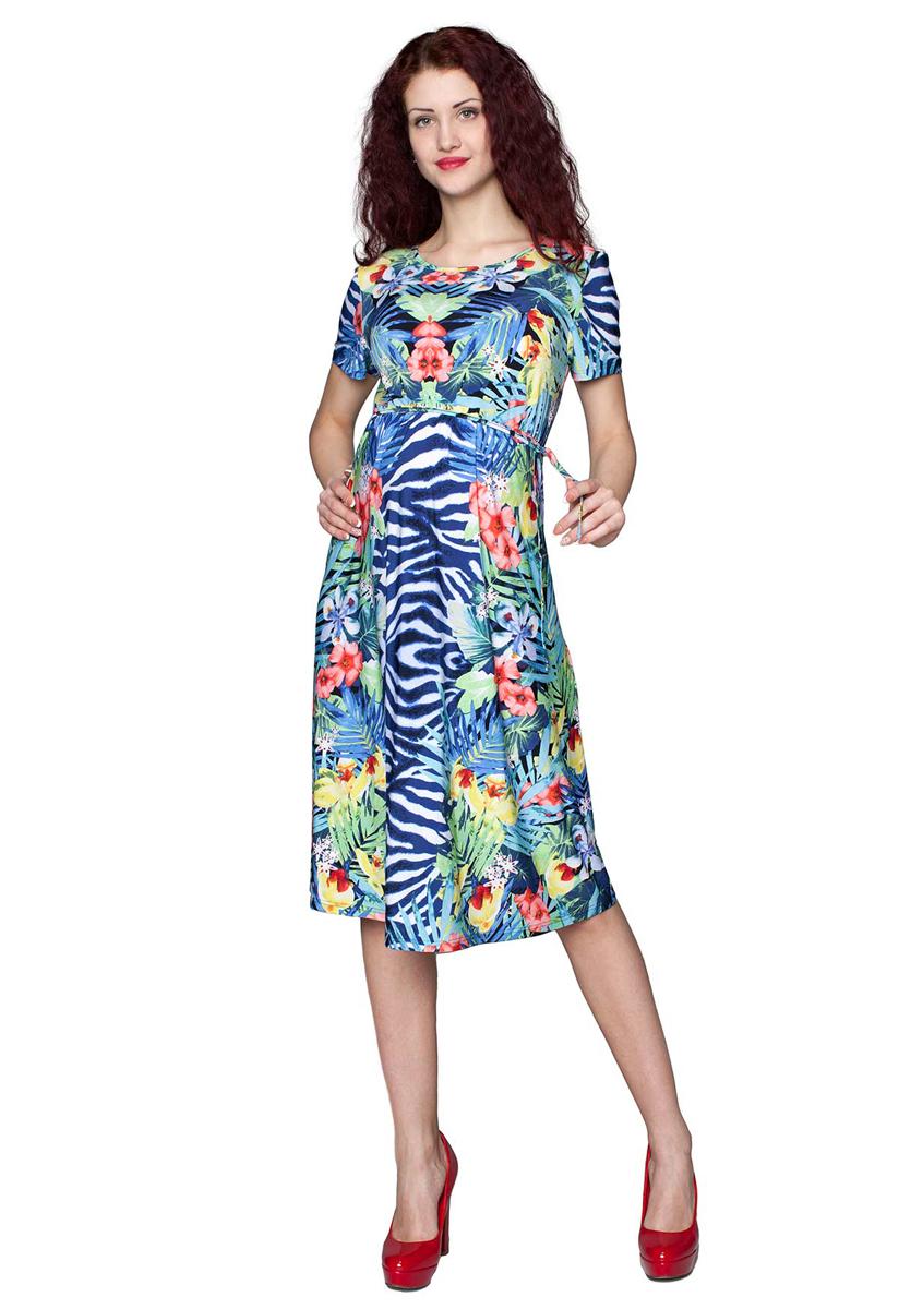 Платье для беременных Фэст, цвет: синий, желтый. 3-205525А. Размер M (46)3-205525АПлатье женское для беременных расклешенного силуэта, с поясом. Прекрасный выбор на лето. Фэст - одежда по вашей фигуре.