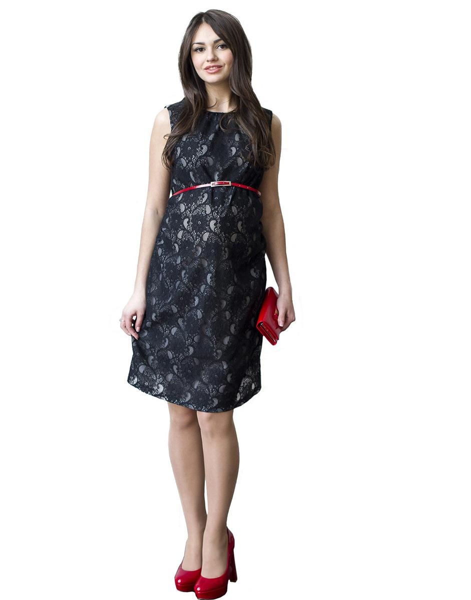 Платье для беременных Фэст, цвет: черный. 114518. Размер XXXL (54)114518Платье-футляр без рукава, выполнено из кружевного полотна и дополнено ярким пояском. Объем на животик обеспечен сборкой по боковым швам. Замечательный вариант на выход и для повседневной носки. Фэст - одежда по вашей фигуре.