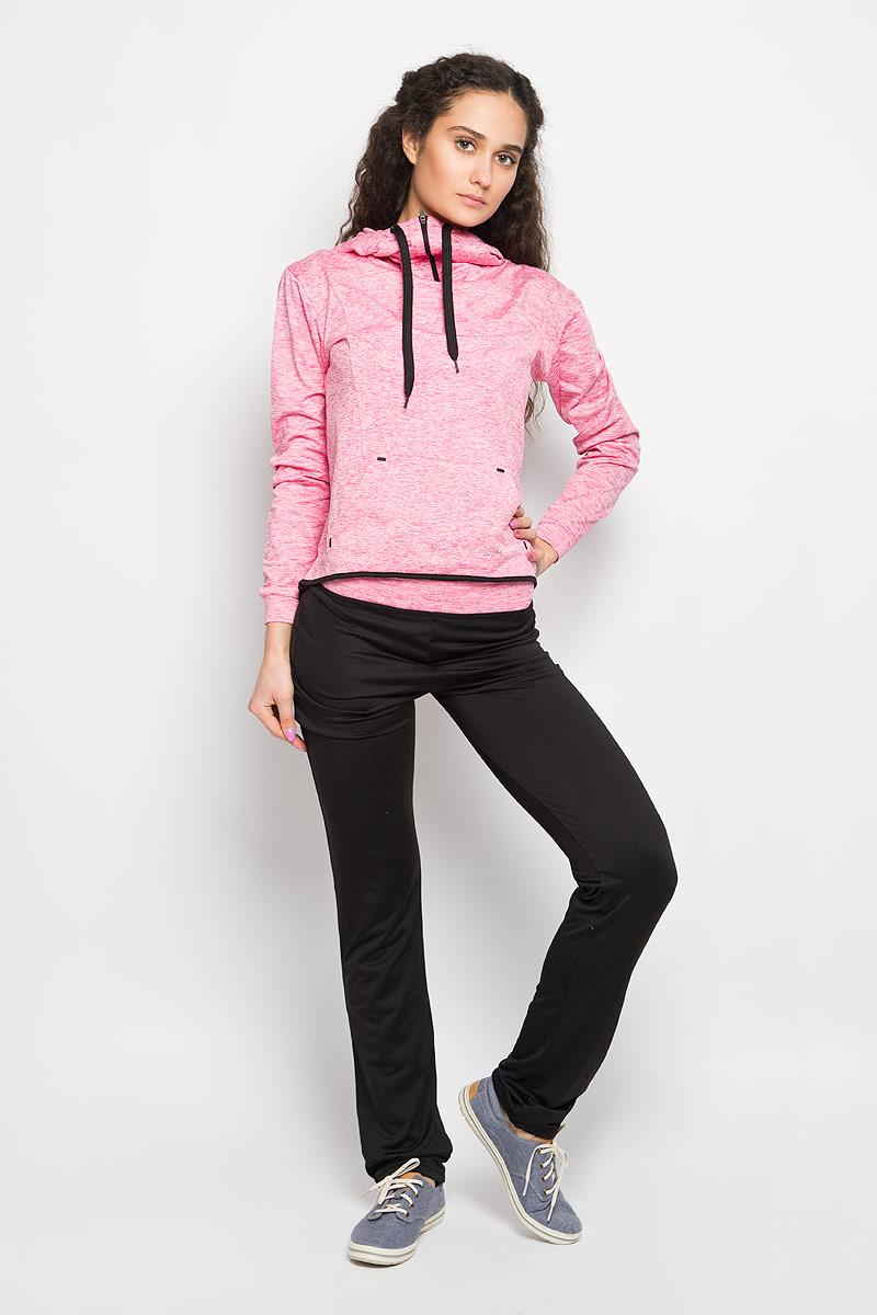 Брюки спортивные женские Moodo, цвет: черный, розовый меланж. L-DR-2002 BLACK. Размер M (46)L-DR-2002_BLACKЖенские спортивные брюки Moodo, выполненные из полиэстера с добавлением эластана, идеально подойдут для активного отдыха и занятий спортом. Материал необычайно мягкий и приятный на ощупь, не сковывает движения и позволяет коже дышать. С изнаночной стороны - мягкий ворсистый материал, приятный на ощупь.Модель прямого кроя со стандартной посадкой. Благодаря эластичному поясу модель идеально садится по фигуре. На брючинах предусмотрены шнурки, которые при необходимости можно завязать. Такая модель выгодно подчеркнет фигуру и станет отличным дополнением к вашему гардеробу!